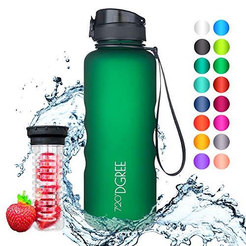 720°DGREE Trinkflasche uberBottle - 1,5 Liter, 1500ml, Grün, Gruen - Neuartige Tritan Wasser-Flasche - Water Bottle BPA Frei - Ideale Sportflasche für Kinder, Fitness, Fahrrad, Sport, Fussball
