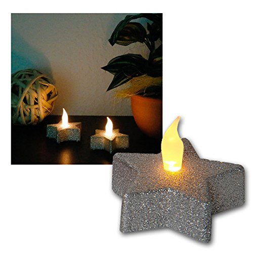 star-decoration-de-table-led-tealightetoile-argentee-2-pieces-flamme-vacillantepiles-inclusesemballa
