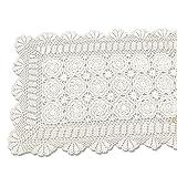 tidetex handgemachte vintage Crochet Spitze Tischdecke 100% Baumwolle Tisch, rechteckig, Bezug Hollow Out tischeindeckung Deckchen Floral Tischläufer, baumwolle, beige, 50cmx60cm