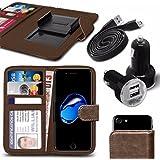 """Asus Zenfone 4 Selfie Pro ZD552KL (5.5"""") - Fall Super-Essentials Pack Clamp Frühlings-Art PU-Leder-Mappe + Dual Einschuss Charger + Micro-USB-1 Meter flache Datenkabel - Brown"""