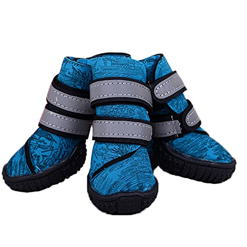 Hundeschuhe, Tauchen Wasserdichte Skischuhe Klettverschleißfeste Gummisohlen Winter Warme Haustiere Hoch Zu Outdoor-Sport-Hund Schuhe 2 Farbe Und 9 Größe Zu Helfen (Color : Blue, Size : 50#)