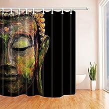 Nyngei Zen Decor - Cortina de ducha con anillas, diseño de Buda en color negro