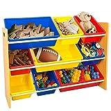 Kinder Spielzeug Lagerregal Holz Display Regal Mit 9 Farbigen Kunststoff Spielzeug Regal Halter Veranstalter Box Kinderzimmer Schlafzimmer Spielzimmer