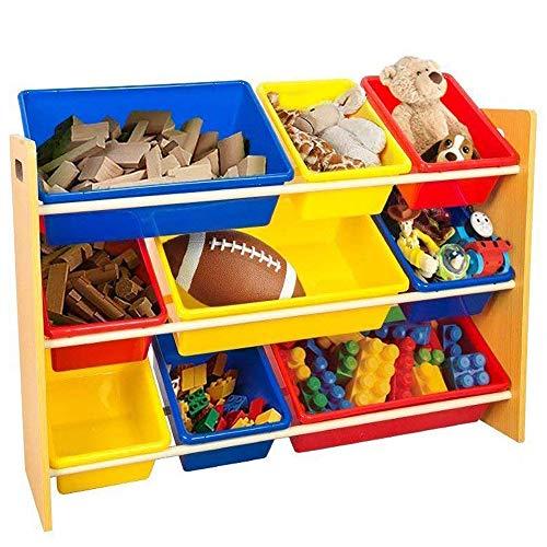 Kinder Spielzeug Lagerregal Holz Display Regal Mit 9 Farbigen Kunststoff Spielzeug Regal Halter Veranstalter Box Kinderzimmer Schlafzimmer Spielzimmer (Regal-display-box)