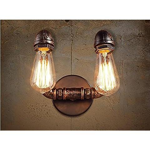 LINA-Muro industriale vintage Applique Lampada plafoniera per casa, Bar, ristoranti, Coffee Shop, Club decorazione Lampada da parete di tubo doppio fine (200 * 300mm)