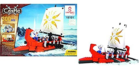 Pirate / Sea Guard Ship Model Building Block Set 300pcs - Nano Micro Blocks DIY Toys Castle Viking Boat Ship 300 Pieces Building Blocks & Bricks Fully Compatible with LEGO