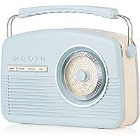 Akai A60010BLDABBT Portable Retro DAB Radio Alarm Clock with Backlight/LCD Display and Bluetooth - Blue - ukpricecomparsion.eu