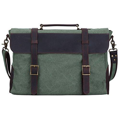 S-ZONE Unisex Vintage Canvas Leder Umhängetasche Schultertasche Laptoptasche Messenger Bag ideal für Studium Büro oder Freizeit Outdoor (Große-Grün)