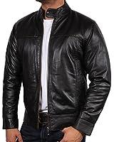 Mens Leather Biker Jacket Black Vintage Look Biker Style Crinkle Retro BNWT