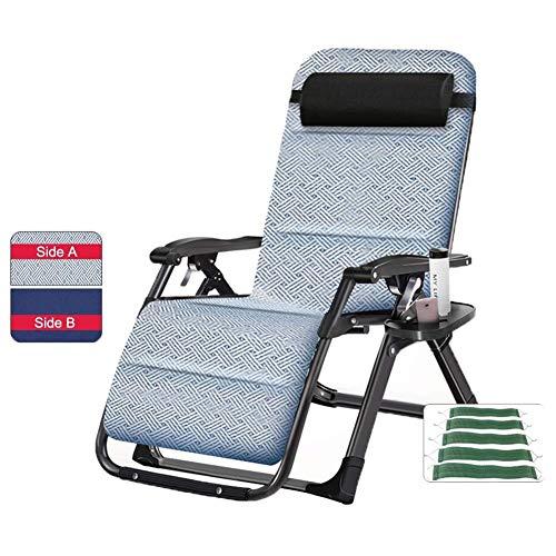 ZYFTYI Oversize Outdoor Reclining Schwerelosigkeit Stuhl mit Getränkehalter, extra breite verstellbare Liege Stuhl für Patio Garden Beach Pool, Unterstützung 200kg (Color : with Double-Sided mat) -