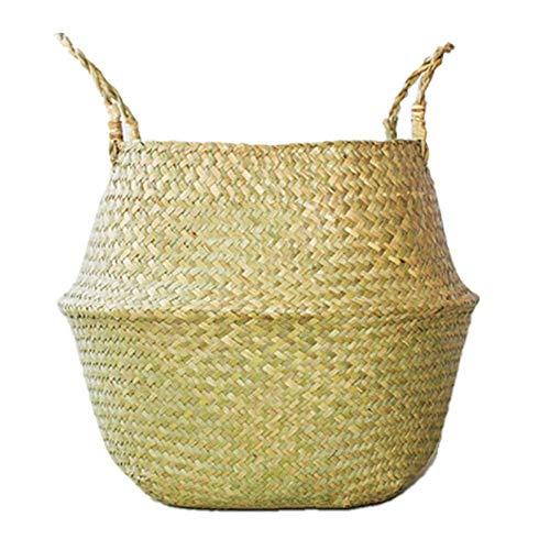 YIWAI Blumentopf 3 Farbe Handgemachte Lagerung Bambus Körbe Faltbare Wäschestroh Patchwork Wicker Rattan Seegras Bauch Garten Blumentopf Pflanzer -