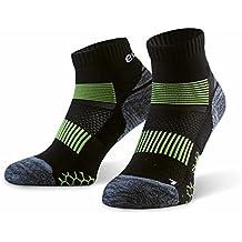 Eono Essentials – Calcetines de running para hombre y mujer (paquete de 3 uds.), Negro, tallas 43-46
