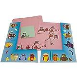 Eulen pink Set 42-teilig (+2) in Eulen-Mappe 20 Blatt Briefpapier + 20 Stück Briefumschläge DIN lang ohne Fenster + 2 Notizblöcke mintgrün 9,8x9,8 cm