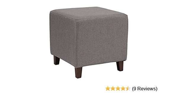 Flash Furniture Ascalon Upholstered Ottoman Pouf in Light Gray Fabric QY-S09-LGY-GG