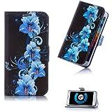 Book Style Bildtasche Design Handy Tasche Flip Cover Schutz Hülle Schale Klapp Etui Case mit Blumenprint für Sony Xperia L (S36H)