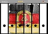 Wallario Ordnerrücken Sticker DDR Flagge auf altem Papier - schwarz rot gold in Premiumqualität - Größe 36 x 30 cm, passend für 6 breite Ordnerrücken