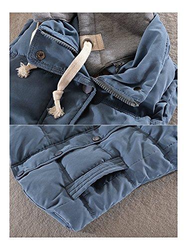 OCHENTA Femme Manteau Sans Manches Coton Epais Automne Hiver Gilet Casual Capuche Sportif Bleu