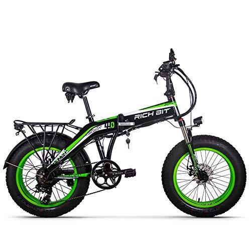 Rich bit RT-016 48v 500w 9.6Ah 20 Pulgadas Plegable Fat Tire Bicicleta eléctrica E Bicicleta Ebike Snow Fat Bike con Pantalla LCD Inteligente (Green)