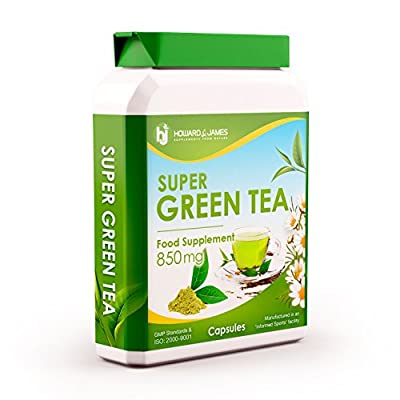 Green Tea 850mg 90 Capsules - Powerful Diet Pills for Weight Loss Management & General Health - Premium GMP Supplement by Howard & James