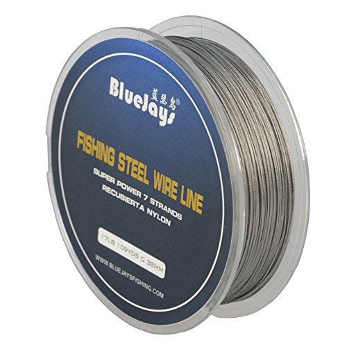 Bluejays 100m Angeln Stahl Draht Linien Angeln Draht Nylon beschichtet 1x 7Strähnen Edelstahl Leader Draht, 0.38mm 109YDS 17 Pound Test, 0.38mm 109YDS 17 Pound Test