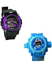 Shanti Enterprises Combo Doraemon 24 Images Projector Watch And Sports Watch Multi Color Dial For Kids