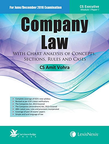 Company Law– With Chart Analysis Of Concepts, Sections, Rules And Cases
