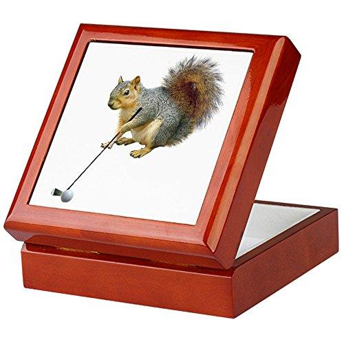 CafePress-Golf Eichhörnchen-Keepsake Box, fertig Hartholz Jewelry Box, Samt Gefüttert Memento Box mahagoni -