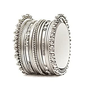 f5de986ace696 JDX Silver Plated Bangle Set For Women -Silver Size 2.6  Amazon.in   Jewellery