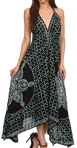 Sakkas 1456 - Shana Batik gesticktes Taschentuch Saum Verstellbare Halter Kleid- schwarz/grün-One Size