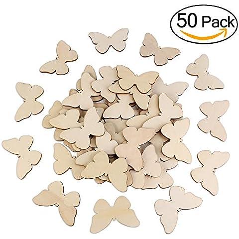 TINKSKY 50pcs mariposa madera formas arte en blanco y Natural inacabado recorte forma mariposa madera, Navidad, boda, libro de visitas, decoración del árbol de familia de Decoupage