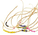 Straw or 'palha' hand woven wristbands decorated with sheel or beads - Fair trade from Brazil