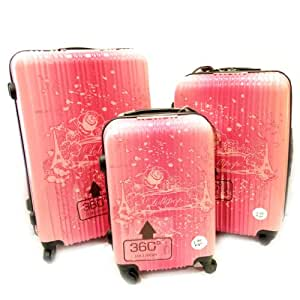 Lollipops [L3292] - Set de 3 valises trolley ABS 'Lollipops' rose bonbon (51/61/71 cm) Tour Eiffel