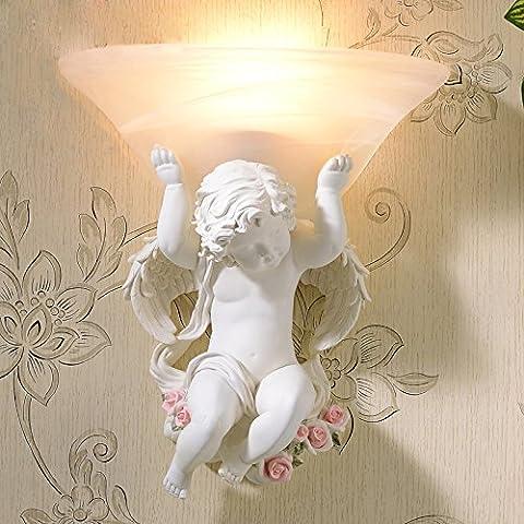 SADASD Europäische LED Wandleuchte kreative Retro Schlafzimmer Bett Wandleuchte Hotel kleine Engel Wandleuchte 30Cm, Off-White