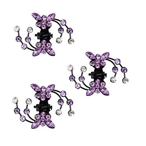 Belle bijoux filles fleurs clips cheveux, Mini 6 Count, Violet