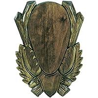 Fritz Muñeco geschnitzes tilo Cartel de madera para Corzo Trofeos 21x 12cm Presas Cartel gehörn Tabla Caballete Cartel Varios Modelos, oscuro, extra-large