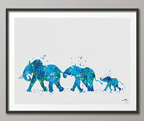 Póster de elefante con texto en inglés 'Mom Mad and Baby Watercolor', diseño de elefante, color azul, M, azul, 8.27 x 11.70
