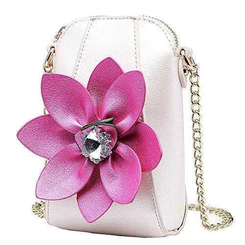 tertasche Klein Umhängetasche Damen Mädchen Leder Handytasche Crossbody Handtasche (Blume, Blume-Weiß) ()