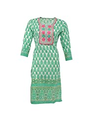 Krisha Fashion Women's Cotton White&green 3/4 Sleeve Kurti