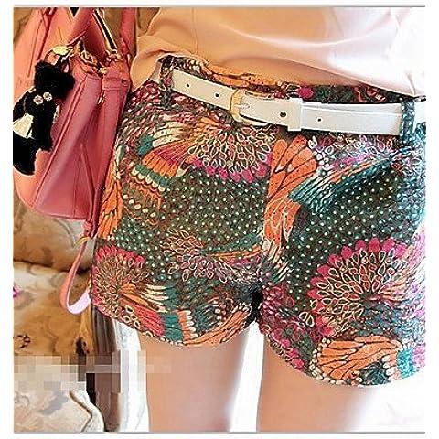 CBIN&HUA DE Fashiongirl mujeres del estilo chino de la impresión floral de cintura alta de Orange Short , orange , l