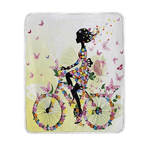 fahrraddecken Lustige Blumen-/Schmetterlings-/Fahrraddecke für Sofa, Bett, Couch, leicht, für Reisen, Camping, 152,4 x 127 cm, große Größe für Kinder, Unisex und Damen