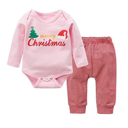 Baby Kleinkind Jungen Grils Kleider Set, Baywell Weihnachten Outwear Langarm Spielanzug & Gestreifte Hosen (S/70/6-12 Monate, Rosa) (Gestreifte Rosa Kleid)
