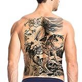 TAFLY Wasserdichte temporäre Tattoo Große gefälschte Tattoo Full Back Cool Lasting Aufkleber für Mann und Frauen Body Art 2 Sheets