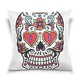 Suabo Sugar Skull con uccello modello velluto di cotone decorativo tiro federa cuscino 40,6x 40,6cm, 50% in cotone, 50% poliestere, Design 8, 45 x 45 cm