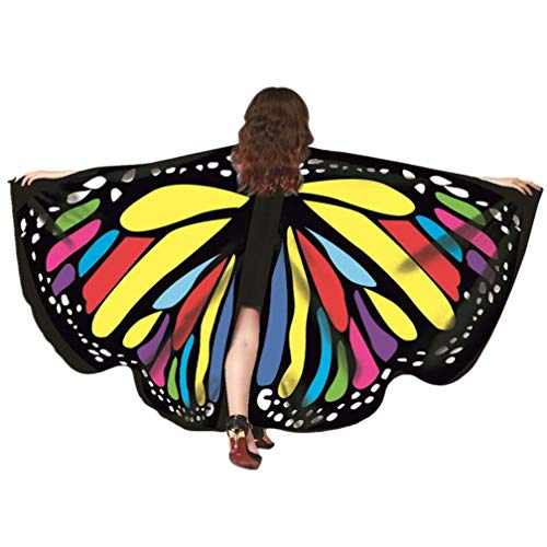 Kfnire Mariposa Alas Chal para Mujer Niña y Niños, Duendecillo para Mujer Chicas Capa de Muchacha Accesorio para Disfraz Playa Fiesta (A#09)