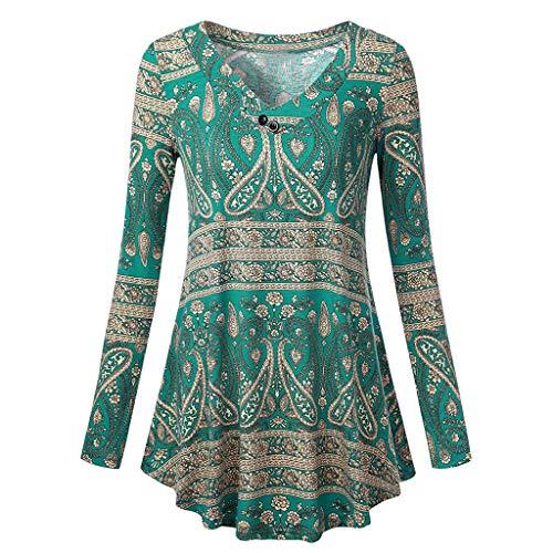 TEBAISE Damen Langarm Asymmetrisch T-Shirt Stretch Longshirt Langarm-Tuniken丨A-Linie -