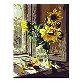 XtraCare DIY Ölgemälde Malen Nach Zahlen Abstrakt Nachmalen für Erwachsene - Rahmenlose, 40 * 50cm, Sonnenblume am Fenster