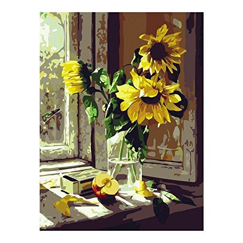 XtraCare DIY Ölgemälde Malen Nach Zahlen Abstrakt Nachmalen für Erwachsene - Rahmenlose, 40 * 50cm, Sonnenblume am Fenster -