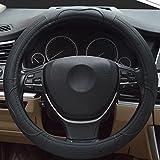 Hivel Lujo Cuero Genuino Funda Cubierta del Volante Universal Antideslizante Respirable Vehiculo Auto Coche Genuine Leather Car Steering Wheel Cover 38cm - Negro