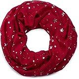 styleBREAKER Loop Schal mit Metallic Sterne All Over Print, Schlauchschal, Tuch, Damen 01017071, Farbe:Bordeaux-Rot