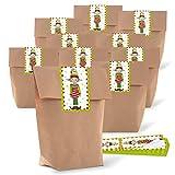 25 braune natur Wichtel Geschenk Tüten Weihnachts-Verpackung 14 x 22 x 5,6 cm + 25 rot weiß grüne Aufkleber zum Wichteln 5 x 15 cm Verpackung zum Befüllen Süßigkeiten give-away Kinder Erwachsene